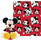 Disney Mickey Mouse Plush Toy and Throw Blanket- Red