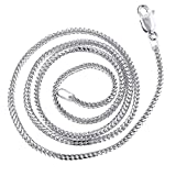 Luxurman 14K White Gold Solid Franco Chain 1.8mm Wide Necklace with Lobster Clasp 18 inches long