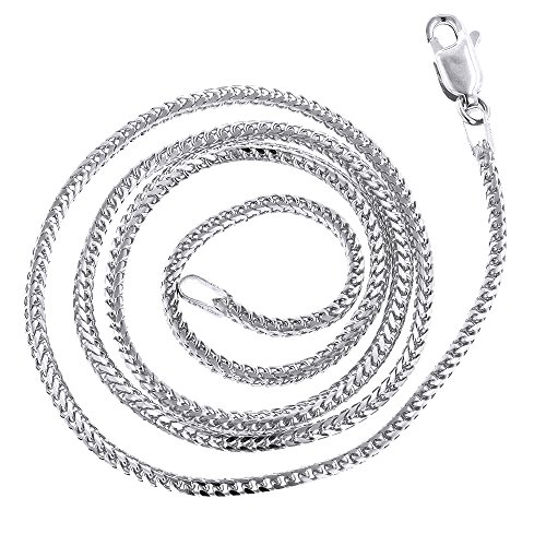 IcedTime 14K White Gold Solid Franco Chain 1.2mm Wide Necklace with Lobster Clasp 18 inches long