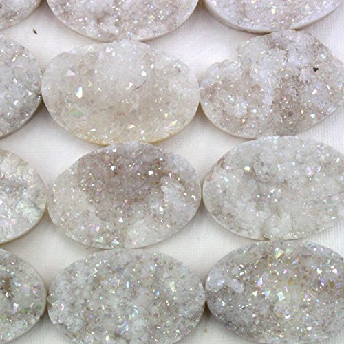 4pcs Druzy Agate Natural Gemstone Oval 22*30mm Cabochons for Jewelry Making Beads Cabs (WHITE)