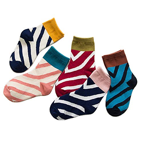 FQIAO Baby Sock Cotton 5Packs 3-5 Years Color Stripe Unisex