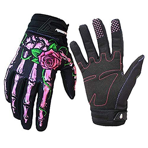 RIGWARL Cycling Gloves Skull Zombie Bone Design Cycling Climbing Motorcycles Cycling Gardening Gloves Men & Women (Pink, L) ()