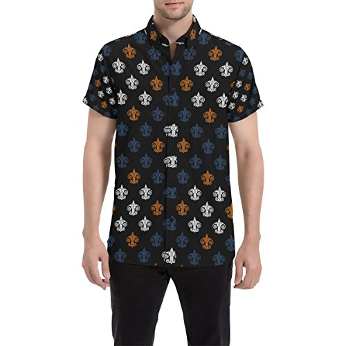 Fleur Button Front Shirt - InterestPrint Men's Comfort Stretch Custom Fleur de Lis All Over Print Short Sleeve Button Front Shirt