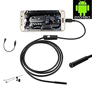 JZHY 3.5m / 11.67ft largo Smartphone Android C¨¢mara endoscopio Inspecci¨®n USB, 5,5 mm Di¨¢metro 6 LED HD 720P IP67 a prueba de agua Serpiente boroscopio