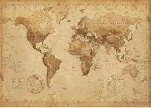 Amazoncom World Map Antique Vintage Giant Poster X Home Kitchen - Oversized vintage maps