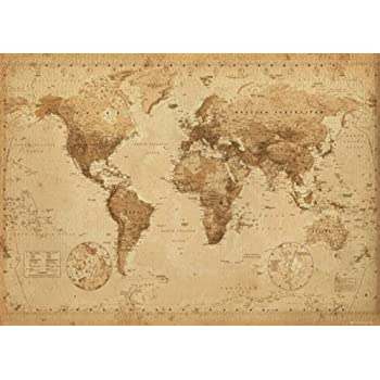 Amazon antique style world map giant poster vintage design antique style world map giant poster vintage design size 55 gumiabroncs Images
