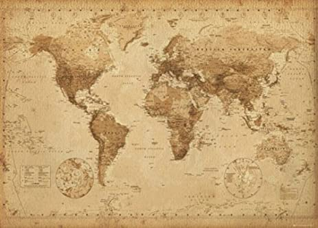Amazon antique style world map giant poster vintage design antique style world map giant poster vintage design size 55quot gumiabroncs Images