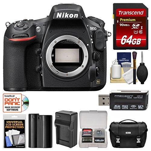 Nikon D810 Digital SLR Camera with 64GB Card + Kit (Certified Refurbished)