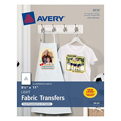 Avery T-Shirt Transfers for Inkjet Printers, For Light Fabric, 8.5
