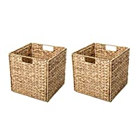 Trademark Innovations Foldable Hyacinth Storage Basket with Iron Wire Frame by (Set of 2), Natural