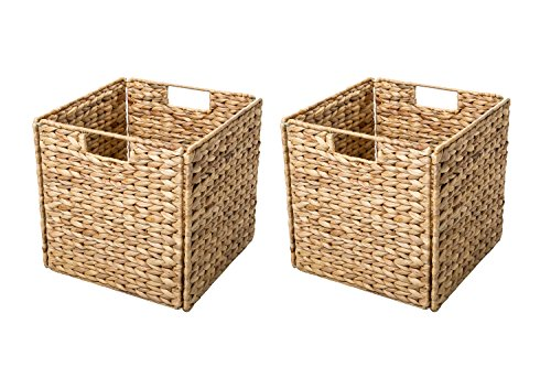 Trademark Innovations Foldable Hyacinth Storage Basket with Iron Wire Frame by (Set of 2), Natural (Baskets Wicker 12 Square)