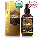 VoilaVe Virgin USDA & ECOCERT Certified Organic Moroccan Argan Oil for Skin, Hair & Nails-Cold-Pressed, Unrefined, 100% Pure, No Fillers or Additives, Natural Moisturizer and Hair Conditioner, 4 fl oz