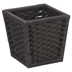 Household Essentials ML-7032 Paper Rope Wicker Waste Basket | For Bedrooms & Bathrooms | Black Stain