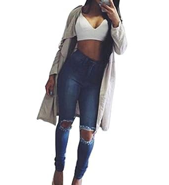031f45058690 Guiran Damen Jeans Hose Skinny Denim Jeanshose mit Löcher Lange Hose ...