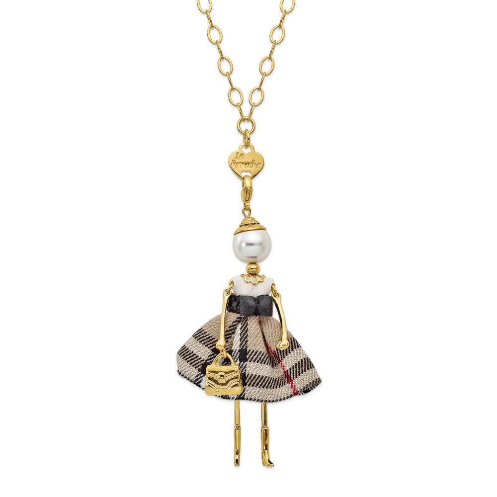 Jewels By Lux Le Amiche Gold-Tone Swar Sim.Pearl Plaid Doll Charm w/Chain