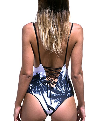Qpladlse Women's One Piece Reversible Printed Swimwears(YM3005M) Palm tree, Medium