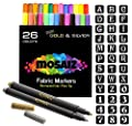26 Fabric Markers Pen Set (Gold and Silver Included) 36 Stencils Permanent Ink Colors Art Marker For Fabric Painting, Writing on Cloth, Clothes, Canvas, Bags, Shirts, Shoes. Non-Toxic Paint Kids-Safe