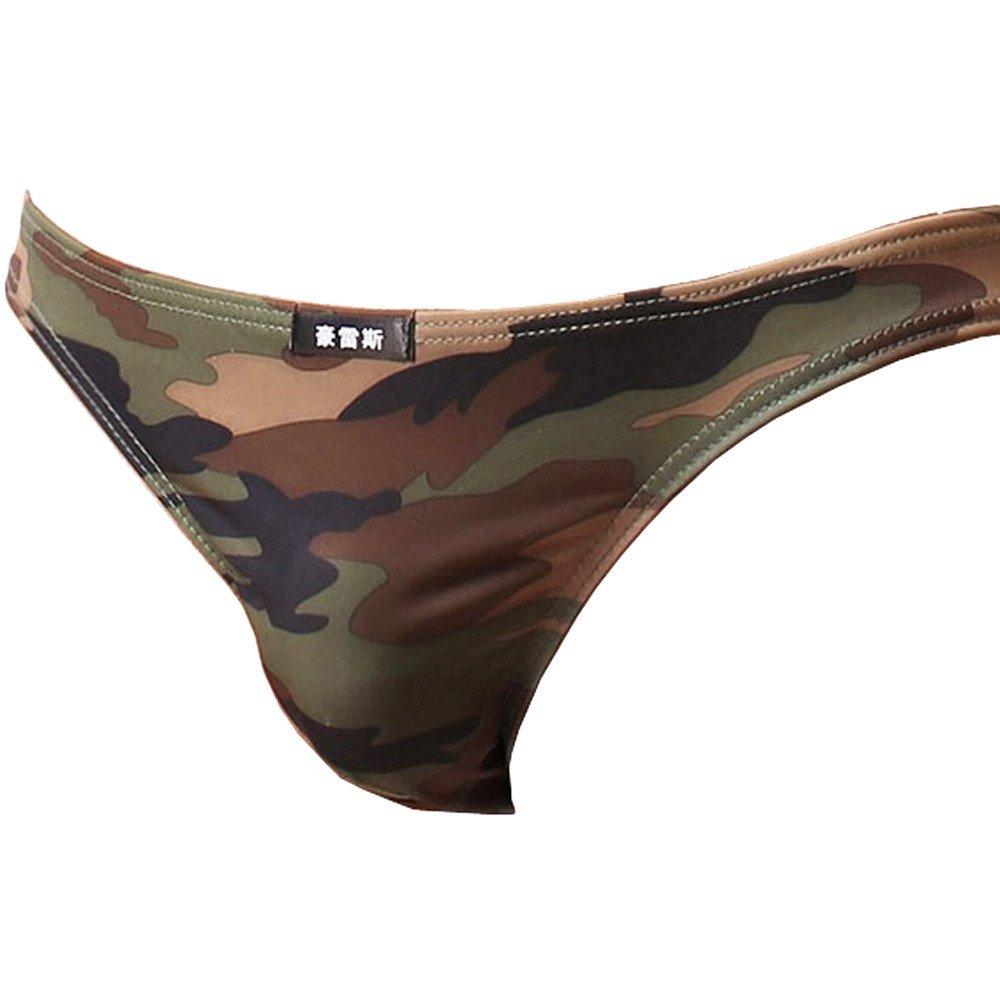 WUAI Men's Thongs Breathable Lightweight Comfort Bikini Low Rise Underwear G-Strings Briefs (Camouflage, L) by WUAI (Image #2)