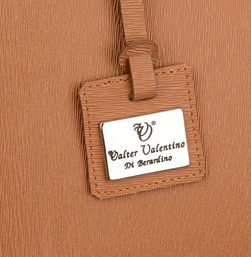 WALTER vALENTINO grand cabas original en cuir de vachette véritable -made italy- 42 x 26 x 15 cm - 6459, cognac, sacoche, porte-documents
