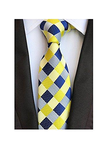 Men's Classic Checks Light Yellow Jacquard Woven Silk Tie Necktie + Gift Box