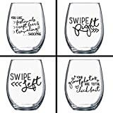 Gift Under $25 - Funny Wine Glasses - Single Ladies Wine Glasses - Quotes on Wine Glass - Cocktail Glass - Wine Gift - Gift for Her - Gift for Best Friend - Swipe Right - Tinder Match Bumble - Dating