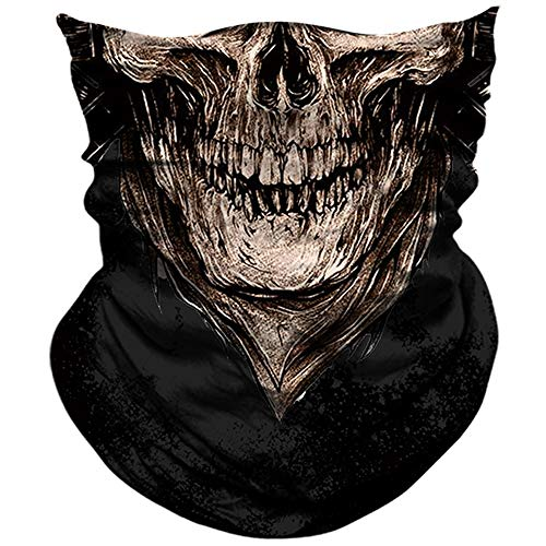 AXBXCX 3D Skull Skeleton Neck Gaiter Face Mask for Motorbike Motorcycle Cycling Riding Hiking Hunting Fishing Skateboard Powersports Cosplay Halloween Party Music Festivals Raves Face Mask PL180397]()