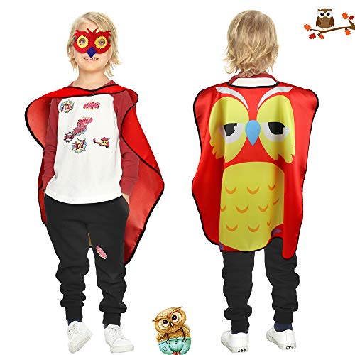 Flying Childhood Kids Toddlers Bird Costume Owl Cape and Mask -- Animal Party Dress Up Pretend Play Set