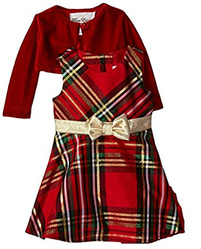 Rare Editions Big Girls Plaid Bow and Velvet Jacket Holiday Dress