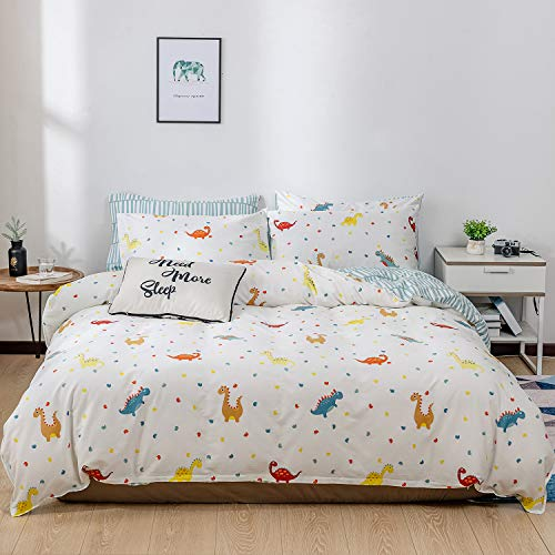Kosa Bedding Toys Studio Dinosaur Kids 3 Pieces Duvet Cover Set,Premium Cotton Comforter Cover with Zipper Closure,Soft and Easy Care,Reversible Pattern Bedding Set for All Season (Queen Size) (Sets Studio Bedding)
