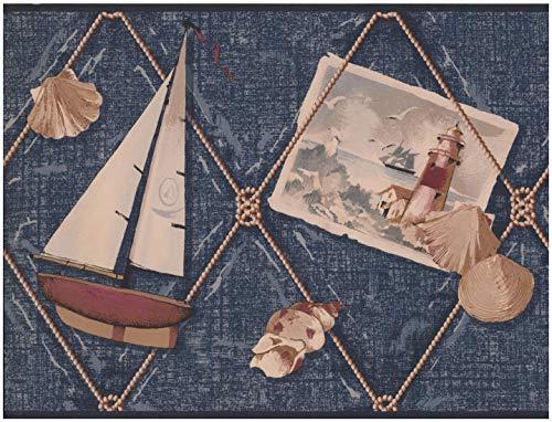 York Wallcoverings Sailboat Anchor Shell Lighthouse Denim Blue Nautical Wallpaper Border Retro Design, Roll 15' x -