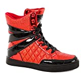 Alexandra Collection Glitter High Top Dance Sneaker | Just for Kix | High Top Sneaker Red/Black