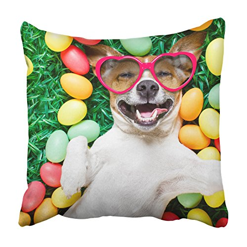 Emvency Square Throw Waist Pillow Case 20x20 Inches Decorative Cushion Pillowcases funny jack russell easter bunny dog wear sunglass Throw Pillow Cover With Hidden Zipper For Bedroom Decor Sofa (Cute Jack Russell Halloween Costumes)
