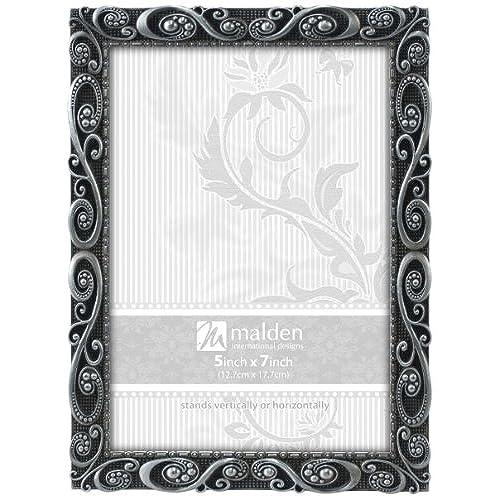 malden international designs morgan pewter metal picture frame 5x7 silver - Metal Picture Frames