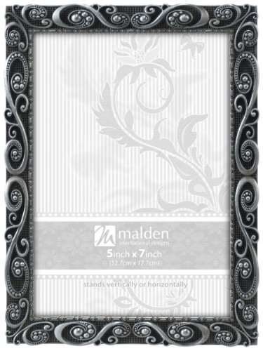 Malden International Designs Morgan Pewter Metal Picture Frame, 5x7, (Metal Photo Picture Frame)