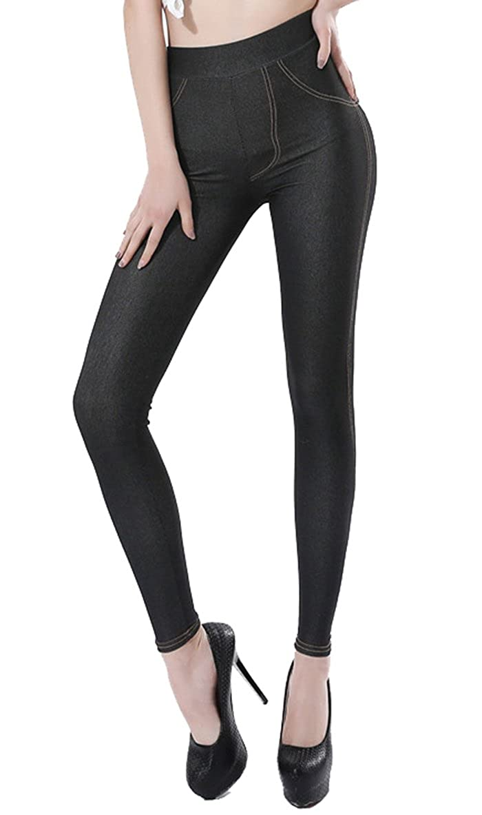 Black02 Sipaya Women's High Waist Jeans Leggings Denim Printed Skinny Jeggings S2XL