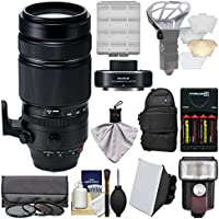 Fujifilm 100-400mm f/4.5-5.6 XF R LM OIS WR Zoom Lens with Fujinon XF 1.4x TC WR Teleconverter + Backpack + Flash + Batteries/Charger + Soft Box + Kit