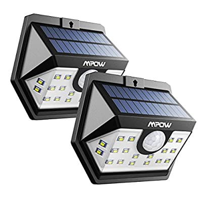 Mpow 77 LED Solar Lights Outdoor, Bright Motion Sensor Security Wall Lights with 3 Modes, Wireless Waterproof Night Lights for Garage Driveway Garden Path Patio Deck Yard Front Door