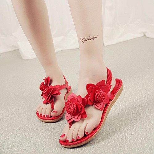 Sandalias del ms, Tefamore Mujer zapatos planos vendaje Bohemia ocio sandalias de señora Peep-Toe zapatos al aire libre Rojo