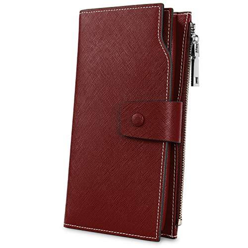 YALUXE Women's Genuine Leather RFID Blocking Large Capacity Luxury Clutch Wallet Card Holder Organizer Ladies Purse Wallets for women (Best Female Wallet Brand)