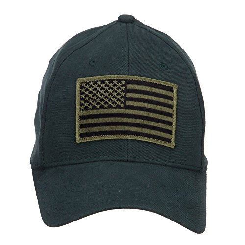 American Flag Patch Brushed Flex Cap - Green (Osfm Flex Cap)