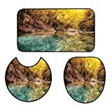 qianhehome Bathroom Non-Slip Floor Mat Golden Color Mosaic Geometric Design with Mirror Like Artwork Orange and Marigold Yellow 3 Piece Toilet Cover Set 15''x18''-D28-24''x48''