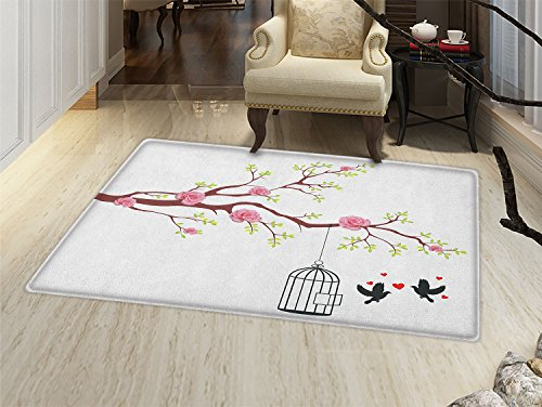 smallbeefly Birds Bath Mats for bathroom Blossomed Roses and Flying Love Valentines Birds with Hearts and Cage Romance Door Mats for inside Non Slip Backing Pink Brown White
