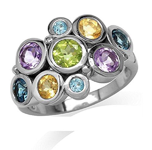 Peridot, Amethyst, Citrine, London&Swiss Blue Topaz 925 Sterling Silver Bezel Cluster Cocktail Ring Size (Sterling Silver Peridot Citrine Ring)