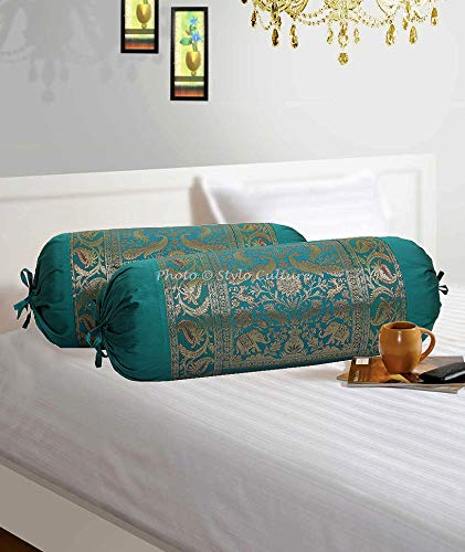 (Stylo Culture Traditional Polydupion Cylindrical Tube Pillow Bolster Pillow Covers Dark Green Elephant Jacquard Brocade Border Large Couch Cylinder Cushion Covers (Set of 2) | 30x15 Inches (76x38 cm) )