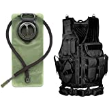 Ultimate Arms Gear Lefty Black Tactical Military-Hunting Vest Left Handed Quick Draw Pistol Holster & Mag Pouch Belt + 2.5 Liter Hydration Water Bladder Hosing Hands Free Bite Valve