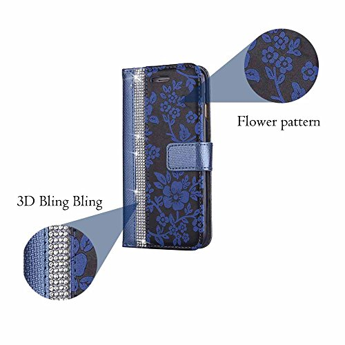 Hülle für Galaxy S6 Edge, Billionn Glitzer Diamant Blume Muster PU Leder Flip Hülle Tasche Schutzhülle mit Standfunktion für Samsung Galaxy S6 Edge Rosa Blau
