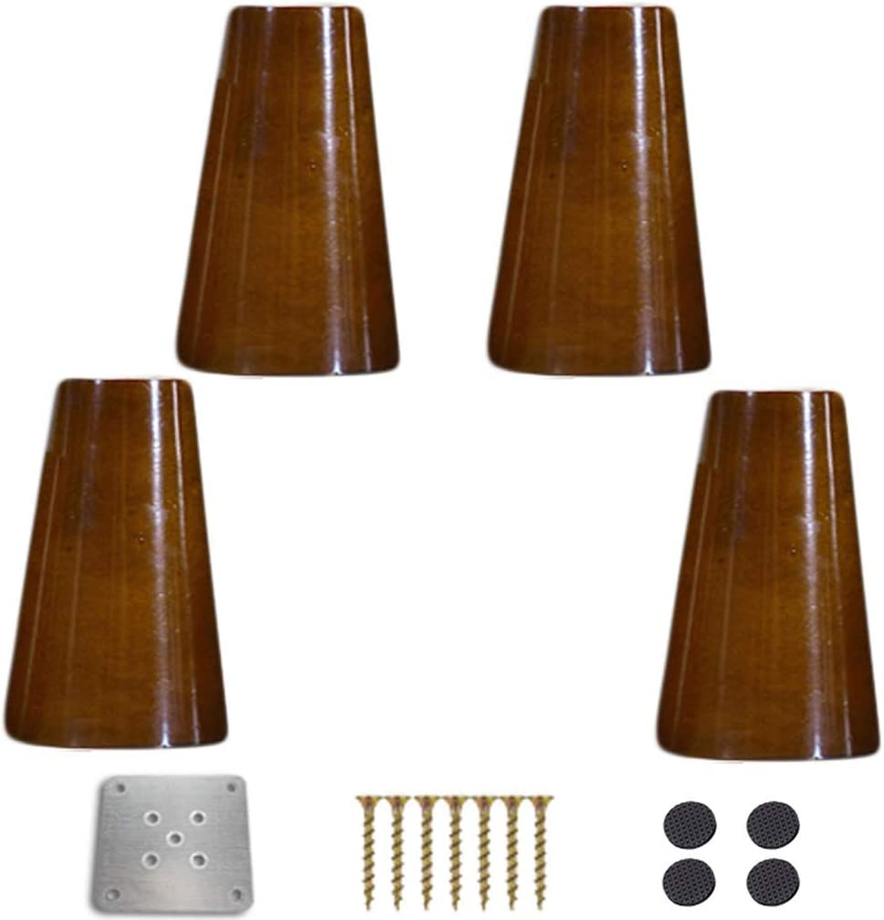 4 Walnut Kitchen Cabinet Legs, Solid Wood Replacement Furniture Feet, Vertical Round Sofa Feet, Chair/Loveseat/Ottoman/Coffee Table/Bed/TV/Chest of Drawers Accessories, with Mounting Pla