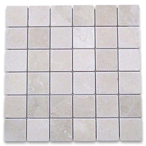 Crema Marfil Spanish Marble Square Mosaic Tile 2 x 2 Tumbled -