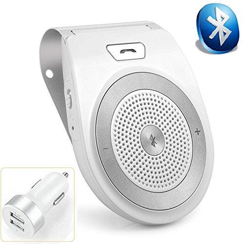 Aigital Bluetooth Car Speakerphone Wireless Handsfree Car Kit AUTO POWER ON Sun Visor Speaker Adapter, Hands-Free Calling Stream Music GPS Navigation Receiver Player - Silver