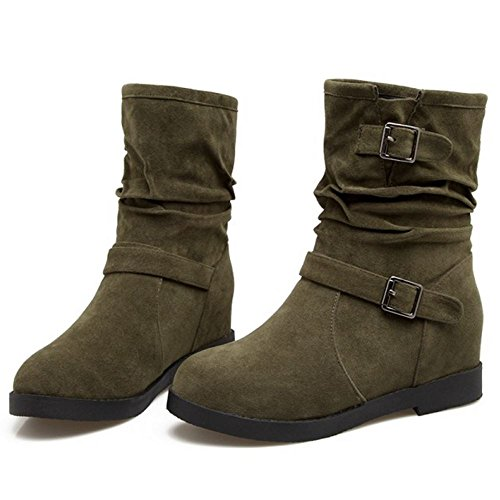 Winter Boots TAOFFEN Shoes Dark Height Green Women Increasing Z55q1wnUa